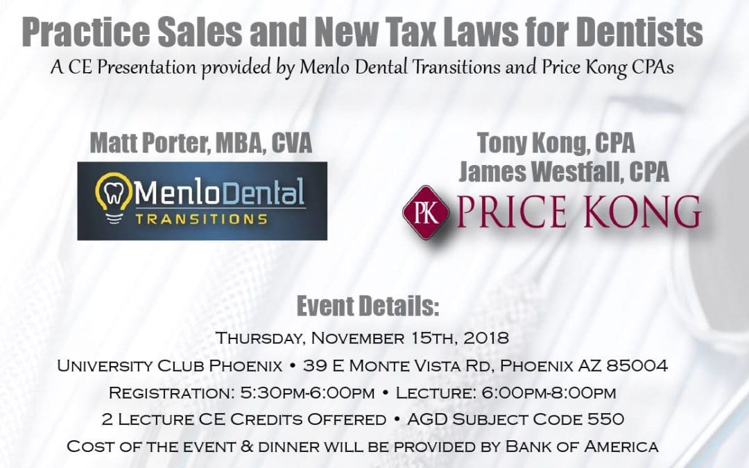Practice Sales and New Tax Laws for Dentists
