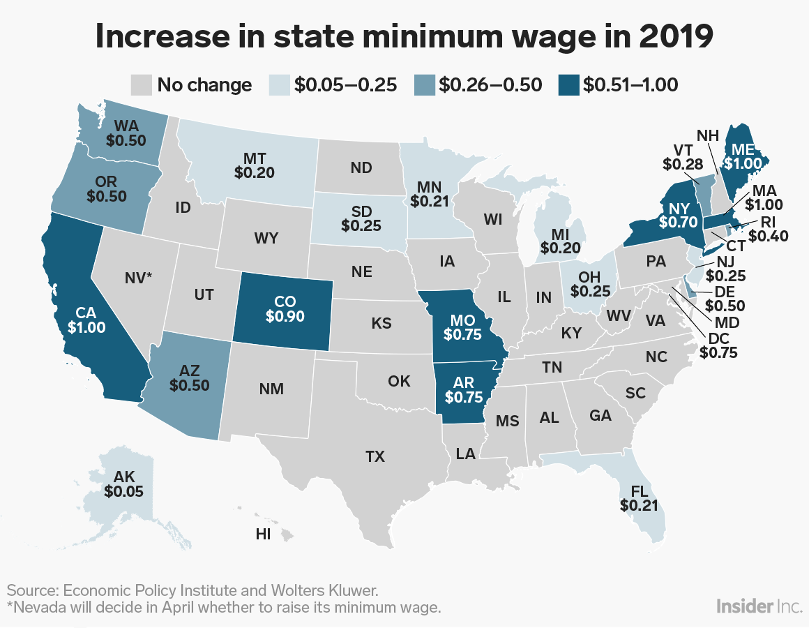 increase in state minimum wage 2019